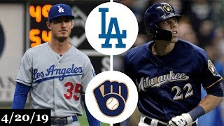 Los Angeles Dodgers vs Milwaukee Brewers Highlights   April 20, 2019
