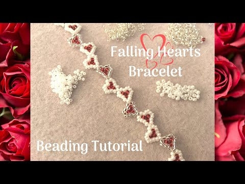 Cute Falling Hearts Bracelet | Seed Bead Project | Beading Tutorial | DIY Jewelry Valentines Day