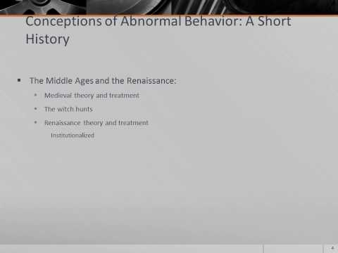 psy410 historical perspectives in abnormal psychology Historical perspectives of abnormal psychology by tracy kelley abnormal psychology attempts to explain the phenomena behind the behavior of individuals that do not fit within current social norms.
