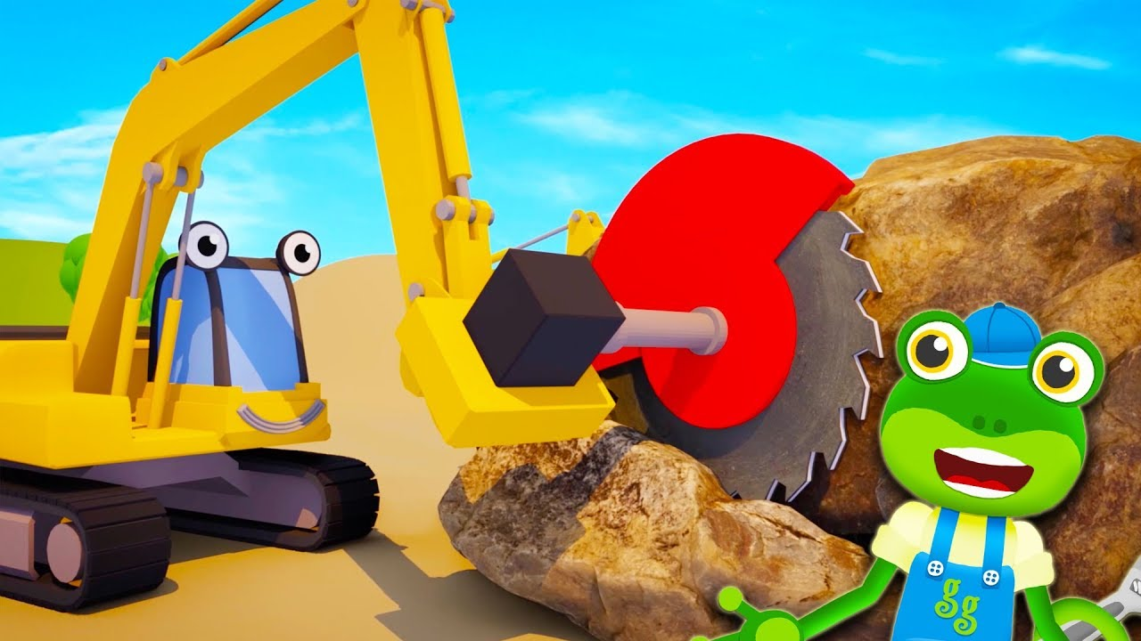 Eric the Excavator Changes Tools - Gecko's Garage   Construction Truck   Educational Videos For
