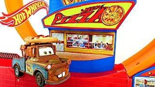 CARS Mater Speedy Pizza Hot Wheels Track Spider-Man Superman Zoom Around Pizzeria 360 Loop