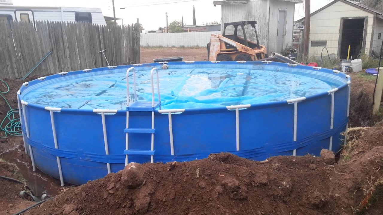 Quick look at the pool full after install 24 39 round intex metal pole frame swimming pool - Steel frame pool ...