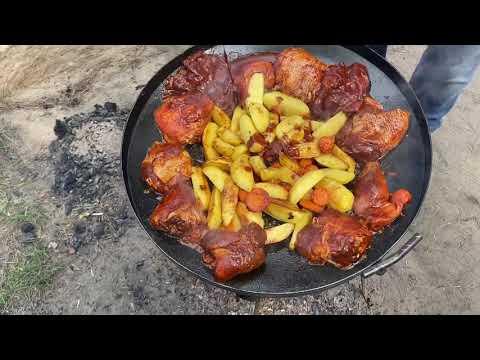 Сковорода из диска бороны! Жареная картошечка с курочкой на природе!
