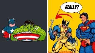NEW FUNNY SUPERHERO COMICS - Marvel & DC - 7 .