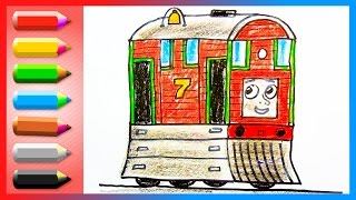 How to Draw Toby - No. 7 Brown Tram Engine - Drawing and Learning Colors Lesson for Kids