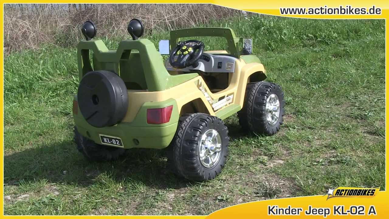 kinder elektroauto jeep kl 02a mit 2 x 30 watt motor von actionbikes youtube. Black Bedroom Furniture Sets. Home Design Ideas