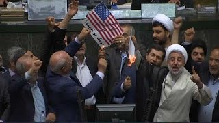 'Death to America': Iran MPs burn American flag in parliament