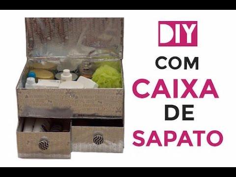 caixas de sapato diy : DIY - Ba? feito com Caixa de Sapato Doovi