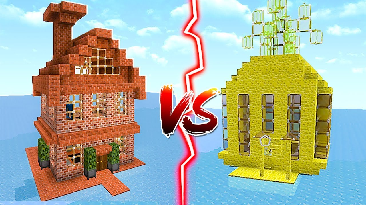 Sponge House Vs Brick House In Minecraft
