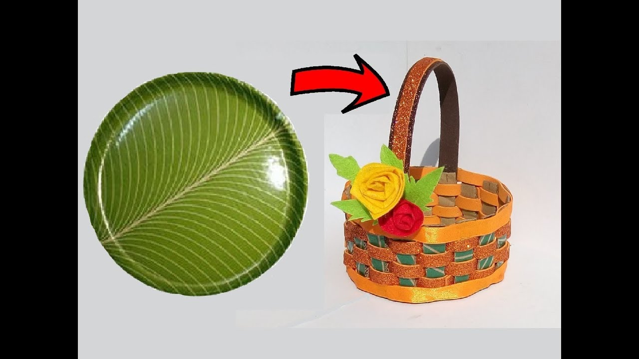 Diy basket from paper plate paper plate craft ideas for Craft items from waste paper