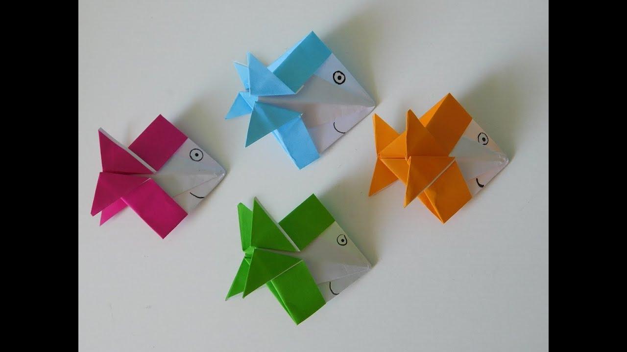 basteln mit kindern origami fisch aus papier falten in wenigen minuten anleitung youtube. Black Bedroom Furniture Sets. Home Design Ideas