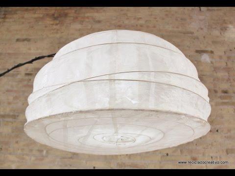 Lámpara De Papel Regolit De Ikea Restaurada Con Gelatina Y Papel