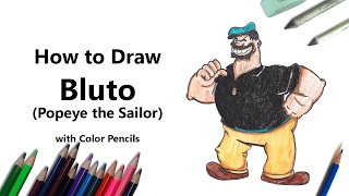How to Draw Bluto from Popeye the Sailor with Color Pencils [Time Lapse]