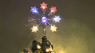 Led Christmas Tree Topper With Color Changing Glittery Snowflakes