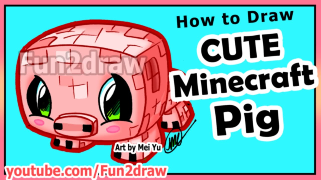 how to draw minecraft characters pig fun extra drawing