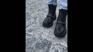 Стильные женские ботинки из натуральной кожи черные модные ботинки женские на меху байке