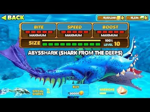 New Abysshark Max Level 10 Hungry Shark Evolution Youtube