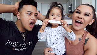 MOMMY AND DAUGHTER SURPRISE DADDY WITH PREGNANCY ANNOUNCEMENT!! *EMOTIONAL*