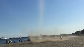 Direct Hit From Twister Dust Devil On Tokyo Beach!