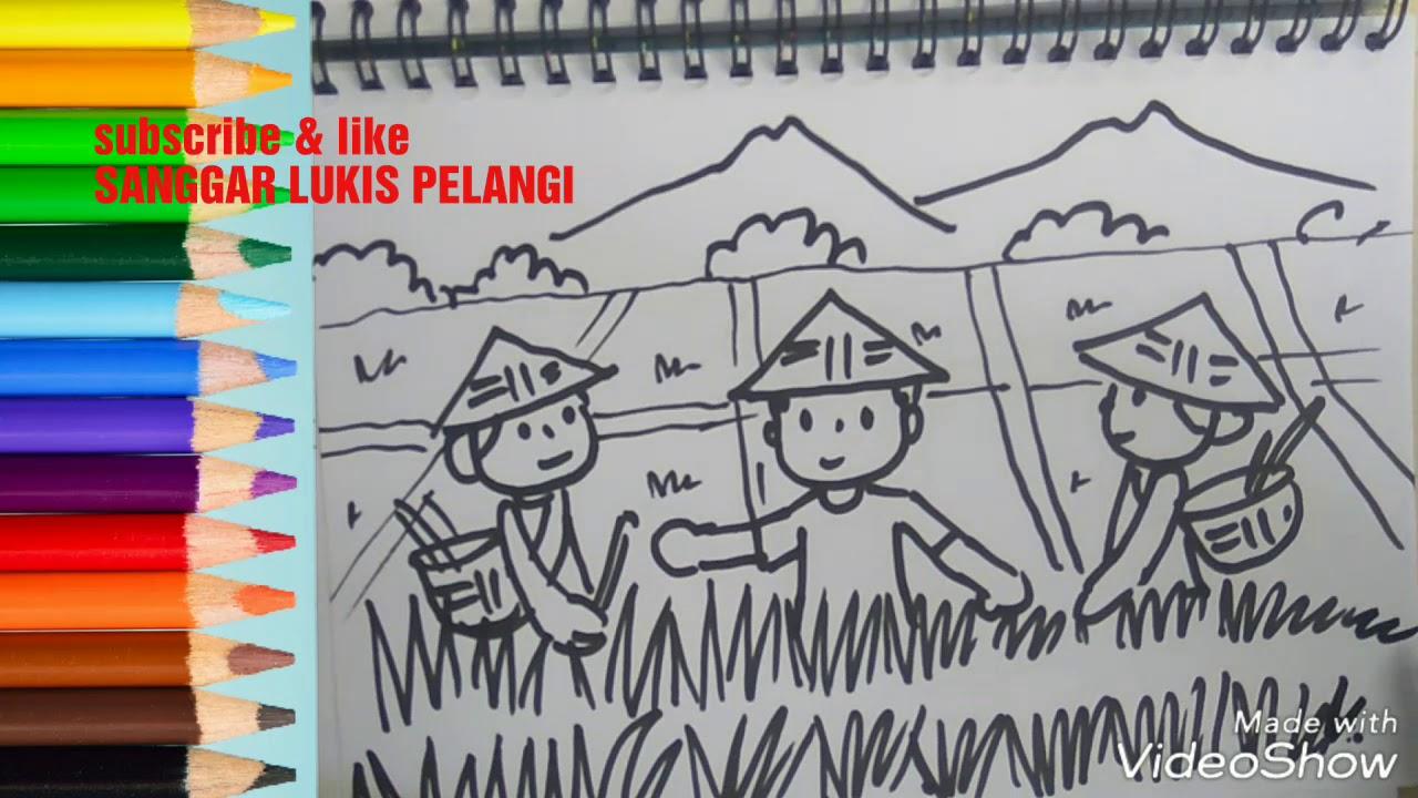 Menggambartema Memanen Padiharvest Drawing Youtube