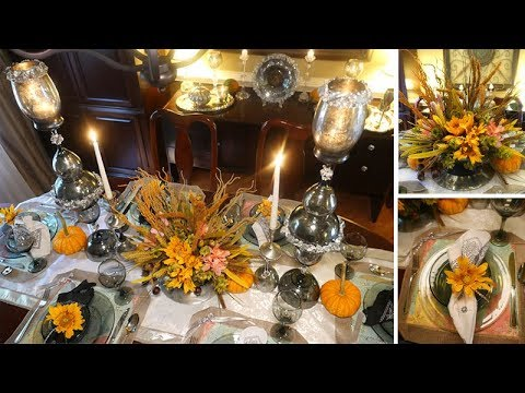 Dollar Tree Fall Tablescape + Floral Arrangement DIY