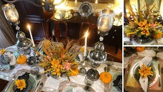 Dollar Tree Fall Tablescape + Floral Arrangement DIY