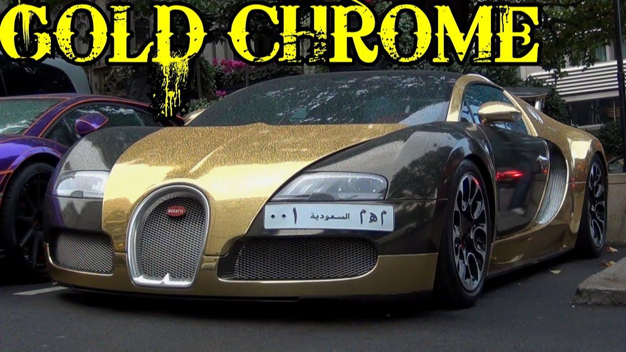 gold chrome bugatti veyron - acceleration, epic combos - youtube