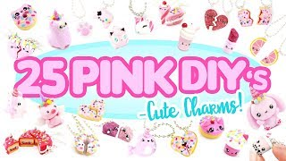 25 PINK DIY's in CLAY -Cute Clay charms! - BIG Polymer Clay Compilation!