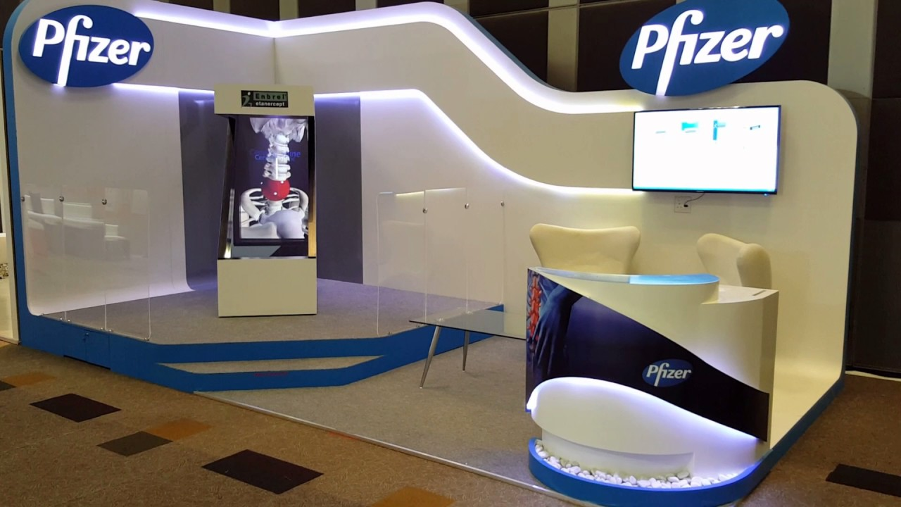 Exhibition Stand Design App : Z shaped hologram unit done for pfizer exhibition stand at