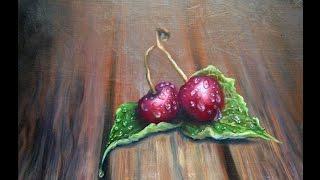 Рисуем маслом  вишни в каплях воды!Drawing the cherry oil droplets in the water!Круглова Людмила(Картина маслом на грунтованом оргалите