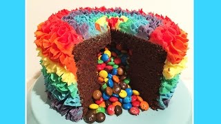 Rainbow Surprise Piñata M&M Cake - Cheeky Crumbs thumbnail