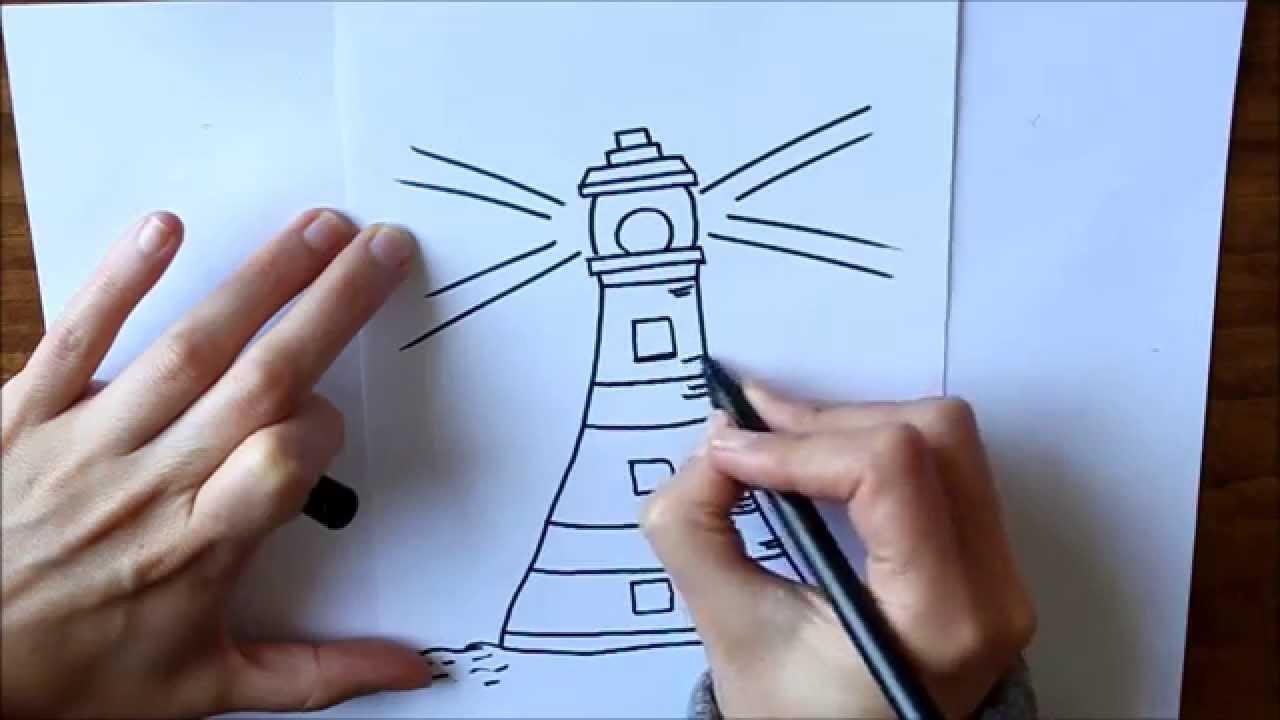 Cmo dibujar Un Faro Dibuja Conmigo Dibujos de Verano  YouTube