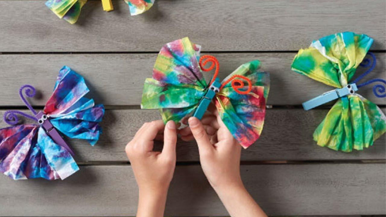 f9af42de998ecb How To Tie Dye Tissue Paper Butterflies - YouTube