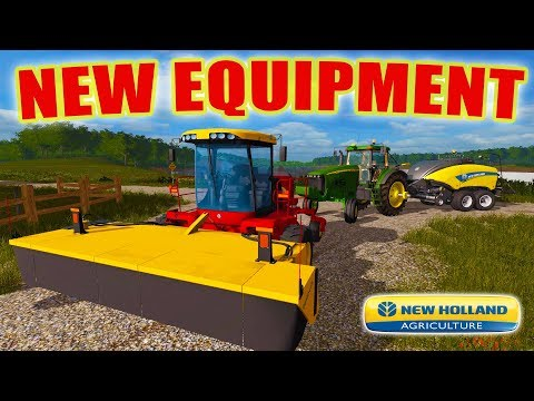 PURCHASE TIME- NEW HOLLAND WINDROWER & BALER | GETTING SETUP FOR HAY | FARMING SIMULATOR 2017 EP #43