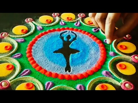 Women S Day Theme Rangoli Dancing Girl Rangoli Women S Day Rangoli Rangoli Design By Shalini Youtube