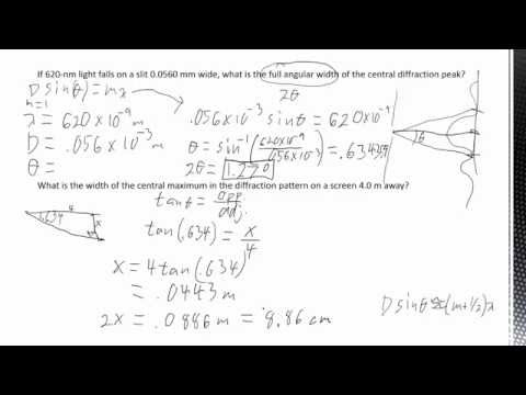 8.9b - Optics - Dispersion, Single Slit Diffraction Calculations