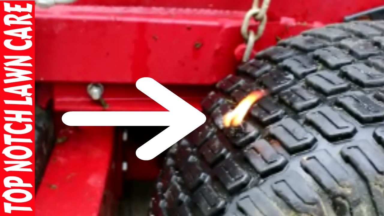 Riding Lawnmower Lawn Mower Tire On Fire, How To Fix Flat Tires, Vlog #115