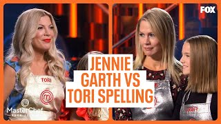 Jennie Garth Vs. Tori Spelling | MASTERCHEF CELEBRITY FAMILY SHOWDOWN