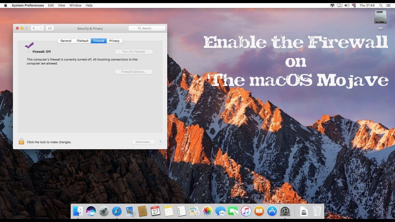 ☑ how to enable and configure the firewall on the macos mojave
