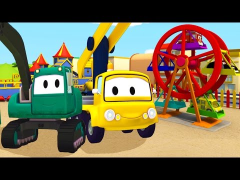 Construction Squad: the Dump Truck, the Crane and the Excavator build a Ferris Wheel in Car City
