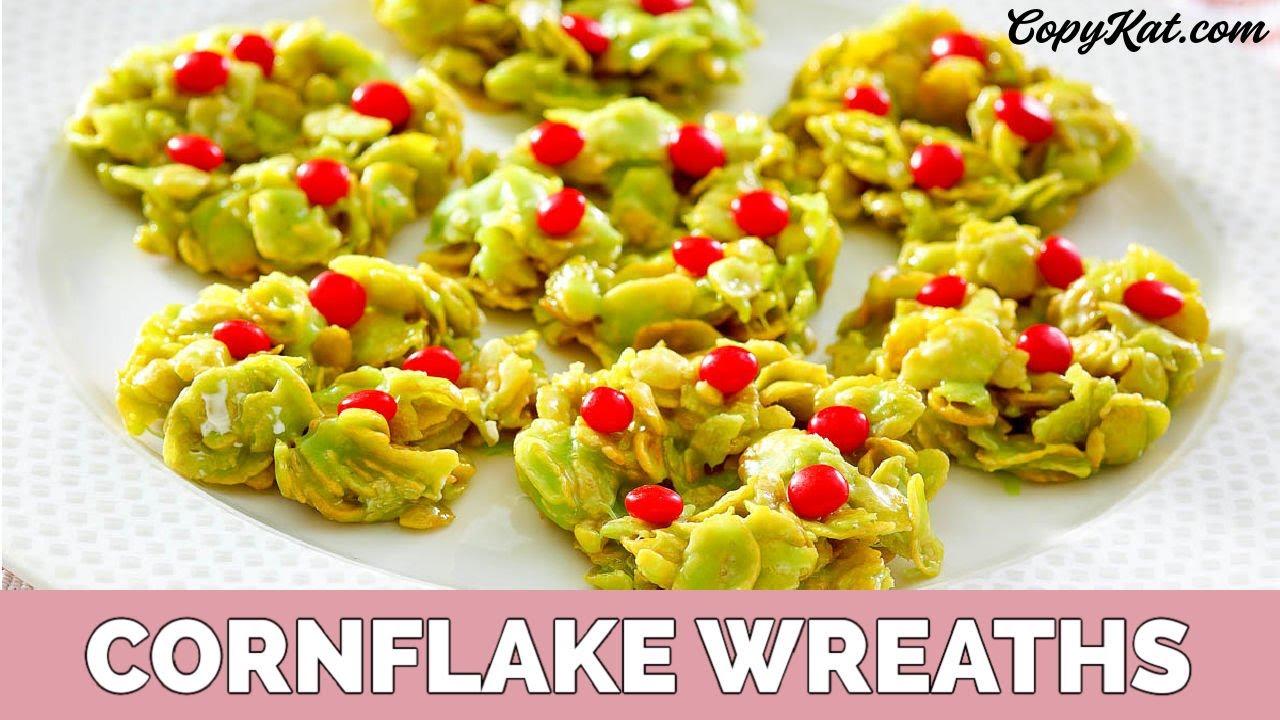 Christmas Wreaths Corn Flake Cookies