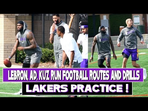 Lakers Football Practice!! LeBron Looks Like An All Pro NFL Athlete And Teammates Run Routes!