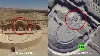 طائرات روسية توثق تدمير أهم معالم تدمر الأثرية بأيدي
