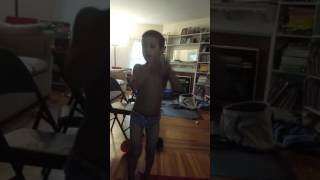 4 year old in underwear sings about mine craft rubber duckie.