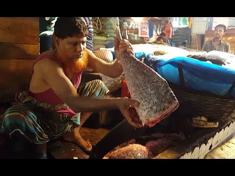 Cutting / Filleting Fish Job in the Fish Market Dhaka