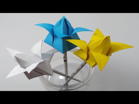 how to diy a water lily paper craft for kids | how to make paper lotus for party decorations