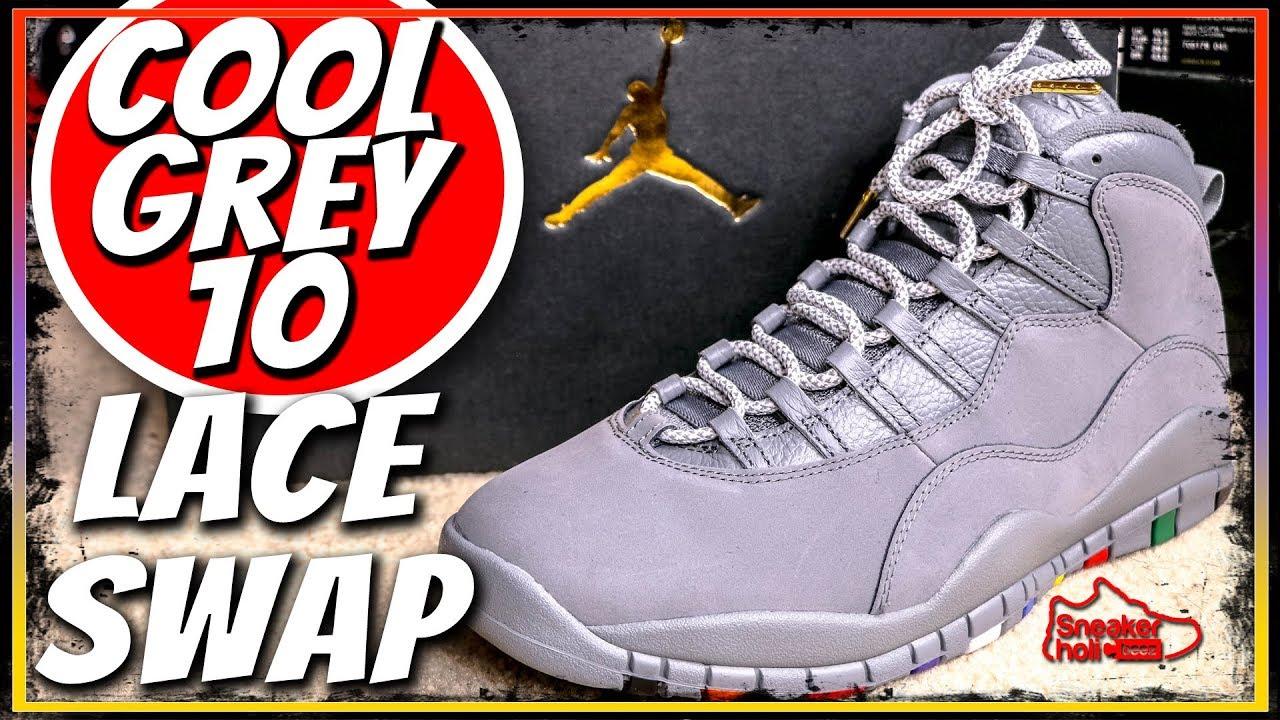 f8f265efb8b AIR JORDAN COOL GREY 10S Sneaker LACE SWAP AND ON FEET