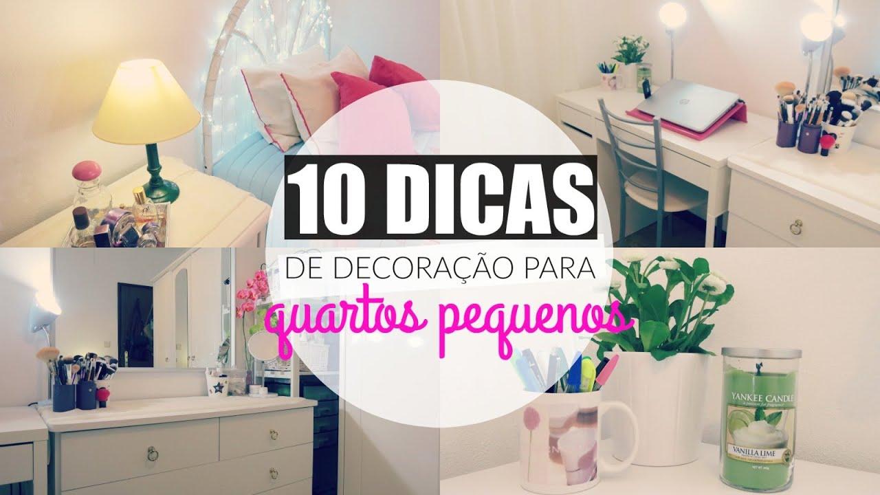 10 DICAS DE DECORA u00c7ÃO PARA QUARTOS PEQUENOS!!! YouTube -> Decoração De Interiores Quarto Pequeno