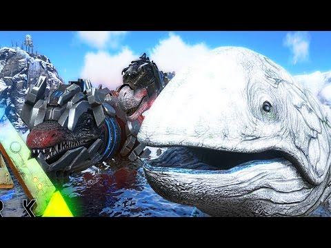 ARK Survival Evolved - ALPHA TEK MOSA VS ALPHA LEEDSICHTHYS & ALPHA TEK REX, GREAT ALBINO - Gameplay