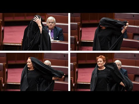 Anti-immigrant MP Pauline Hanson wears burqa in Aussie Senate